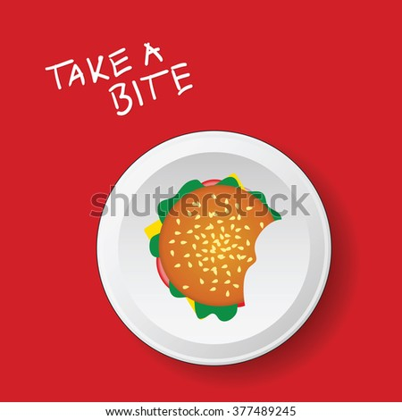 hamburger on plate  illustration in colorful - stock vector