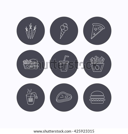 Hamburger, pizza and soft drink icons. Tea bag, meat and chips fries linear signs. Ice cream, carrot icons. Flat icons in circle buttons on white background. Vector