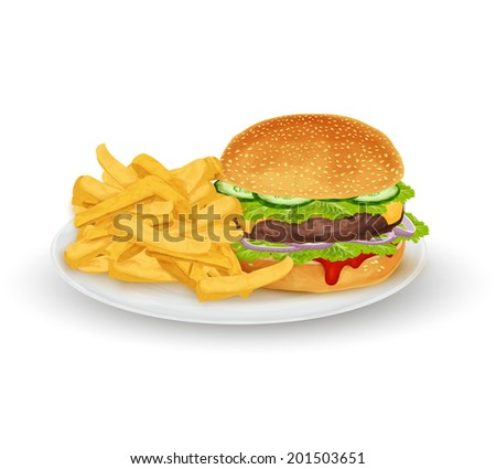 Hamburger sandwich with French fries on plate fast food isolated on white background vector illustration