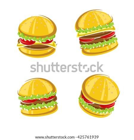 Hamburger set. Vector - stock vector