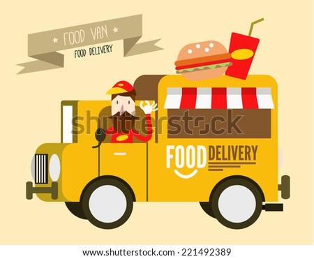Hamburger van. fast food delivery. flat design vector illustration background - stock vector