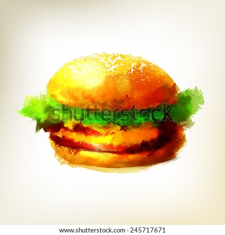 Hamburger. Watercolor illustration. - stock vector