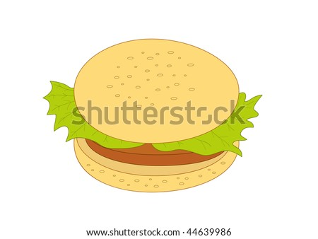 Hamburger with beef and lettuce, simple vector illustration - stock vector
