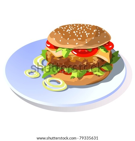 Hamburger with cheese - stock vector
