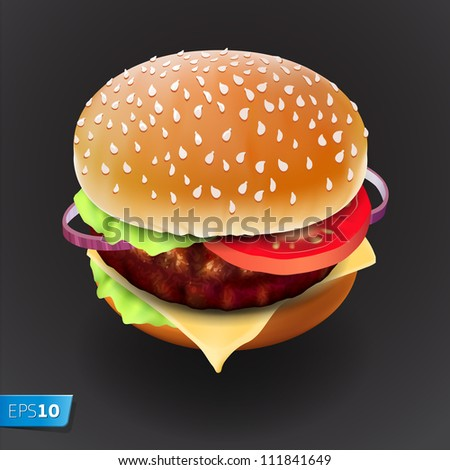 Hamburger with meat, lettuce, cheese and tomato. Vector Eps10 illustration. - stock vector