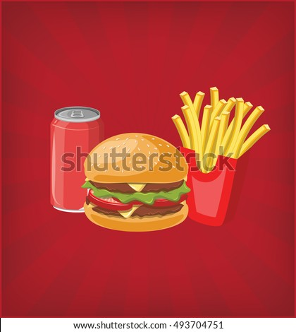 Hamburger with soda and fries fries