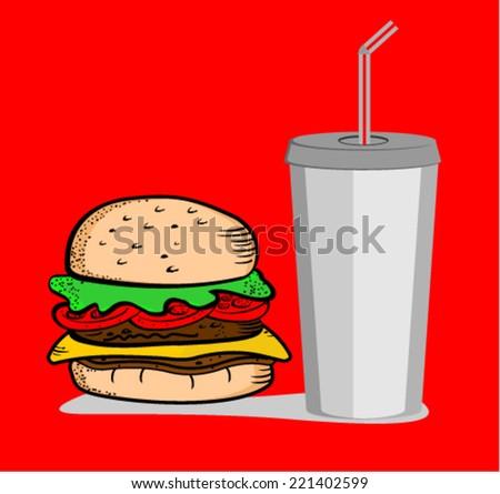 hamburger with soda , vector - stock vector