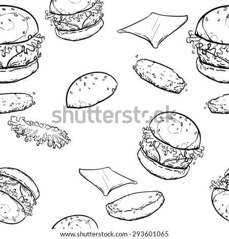 Hamburgers food pattern vector black and white line
