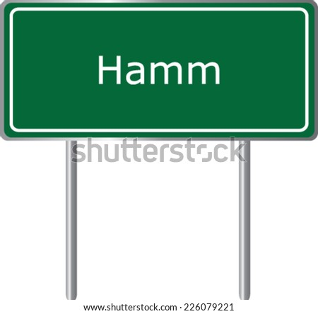 Hamm , Germany , road sign green vector illustration, road table - stock vector