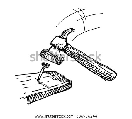 Hammer And Nail Doodle A Hand Drawn Vector Illustration Of About To