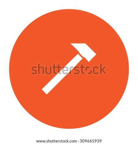 Hammer. Flat white symbol in the orange circle. Vector illustration icon - stock vector