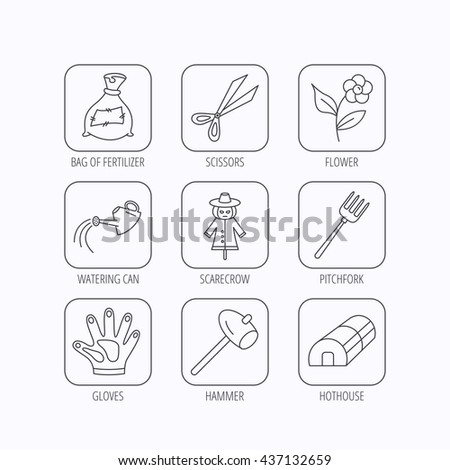 Hammer, hothouse and watering can icons. Bag of fertilizer, scissors and flower linear signs. Hammer, scarecrow and pitchfork flat line icons. Flat linear icons in squares on white background. Vector - stock vector