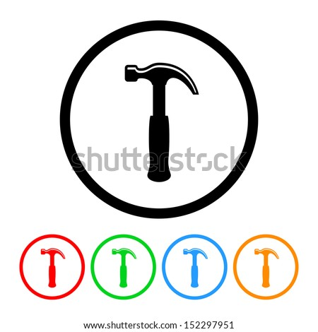 Hammer Icon with Color Variations - stock vector