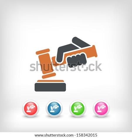 Hammer judge icon - stock vector