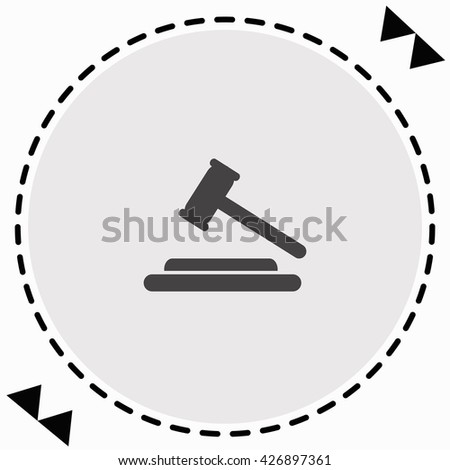 Hammer judge icon Flat Design. Isolated Illustration. - stock vector