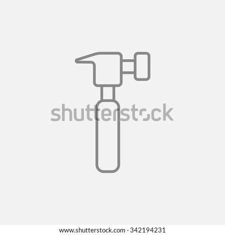 Hammer line icon for web, mobile and infographics. Vector dark grey icon isolated on light grey background. - stock vector