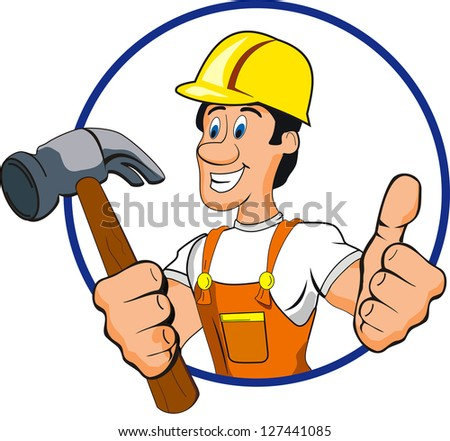 hammer man - stock vector