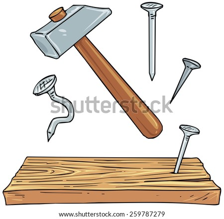Hammer, Nails and Plank of Wood - Carpenter Tools Objects  - Cartoon Clip Art Illustration