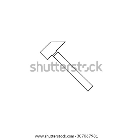 Hammer. Outline black simple vector pictogram - stock vector