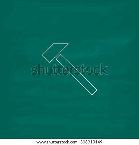 Hammer. Outline vector icon. Imitation draw with white chalk on green chalkboard. Flat Pictogram and School board background. Illustration symbol - stock vector