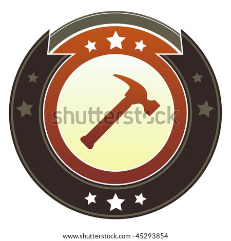 Hammer, repair, or fix icon on round red and brown imperial vector button with star accents - stock vector