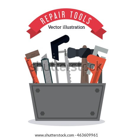 hammer ruler wrench saw. Tools kit icon. Repair construction concept. Isolated and Colorfull illustration. Vector graphic