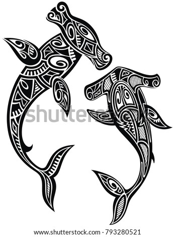 Hammer Sharks Tattoo Maori Tribal Style Stock Vector Royalty Free