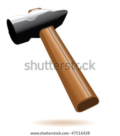 Hammer. Vector illustration isolated on white background - stock vector