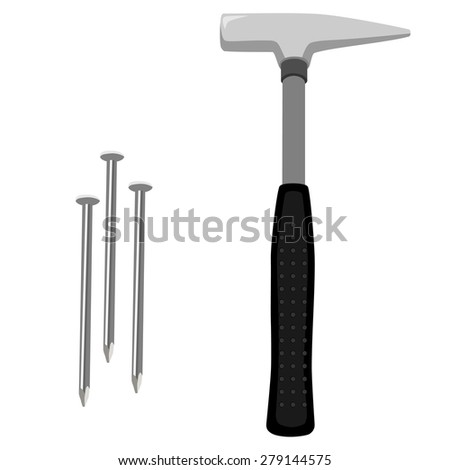 Hammer with black, rubber handle and three nails vector icon set. Worker equipment, tools - stock vector