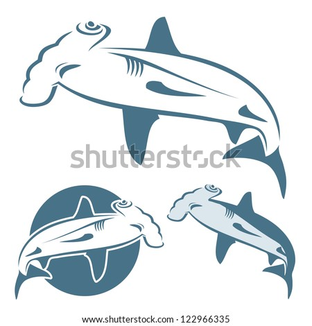Hammerhead shark - vector illustration - stock vector