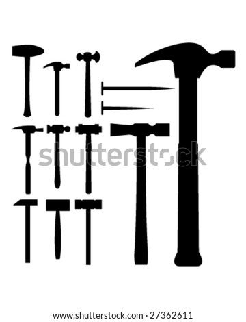 Hammers, mallets, and nails in vector silhouette