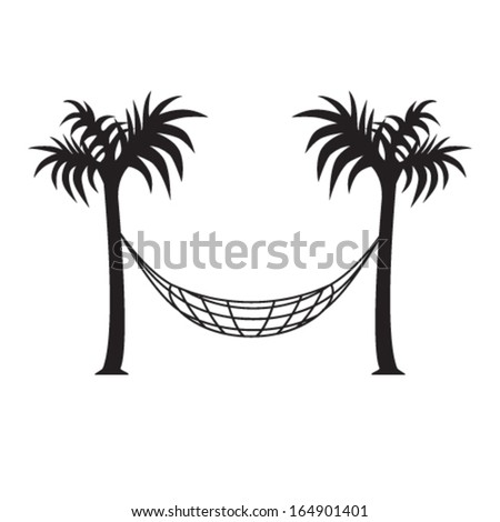 hammock and palm trees - stock vector