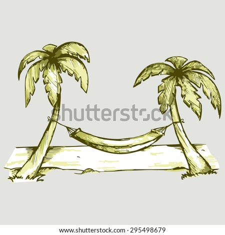 Hammock between two palm trees near the ocean. Vector Image