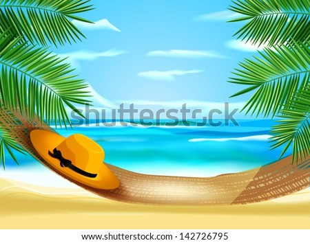Hammock on the beach - stock vector