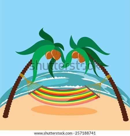hammock on the beach and coconut trees - stock vector
