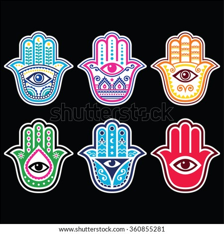 Hamsa hand, Hand of Fatima - amulet, symbol of protection from devil eye on black background - stock vector