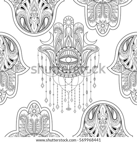 Hamsa Hand Seamless Pattern Vector Illustration Drawn Symbol Of Protection For Adult Anti