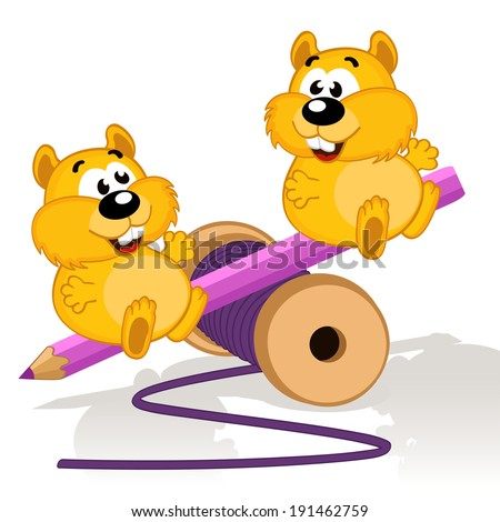 Hamsters on a swing -  vector illustration - stock vector
