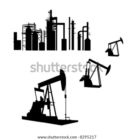 Han Drawn isolated silhouettes of an oil refinery and oil wells in AI-EPS8 format.