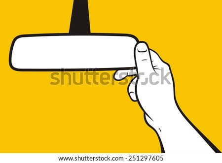 Hand adjusting rear-view mirror - stock vector