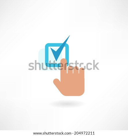 hand and a check mark icon - stock vector