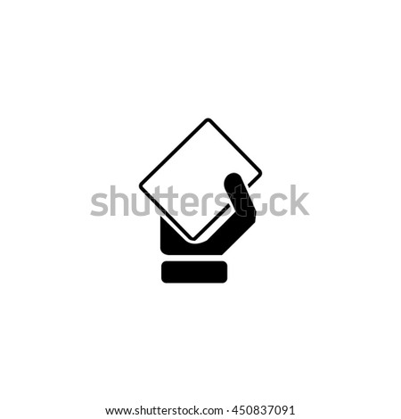 Hand and card icon. - stock vector
