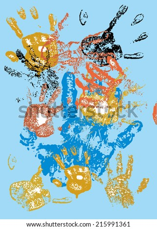 hand and color grunge style vector art - stock vector