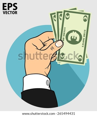 hand and euro money - stock vector