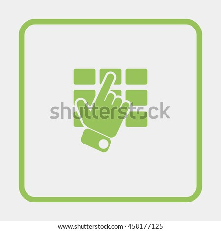 Hand and finger pushing button on a keypad. - stock vector