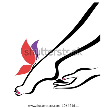 hand and foot, body care, vector illustration - stock vector