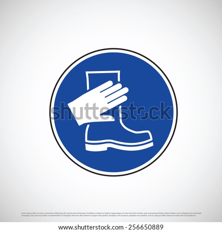 Hand and foot wear safety icon - stock vector