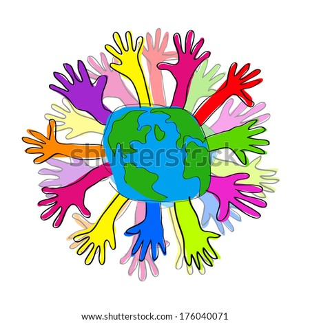 hand and globe. Vector - stock vector