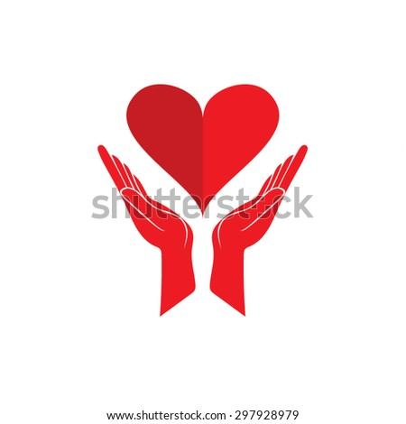 hand and heart logo icon