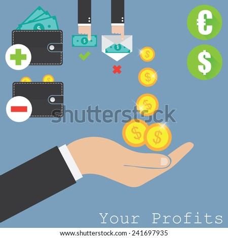 Hand and money  - stock vector